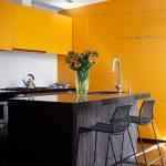 Modern Kitchen in Mustard Yellow Color Scheme. Yellow kitchen cabinets