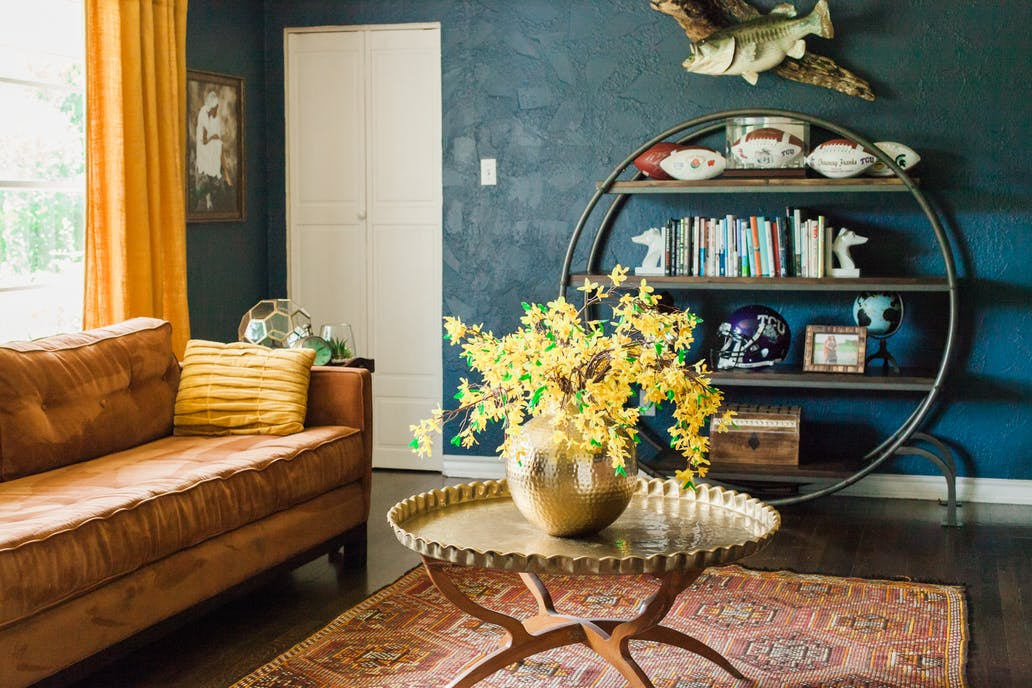 Sherwin Williams Indigo Painted Living Room Color Scheme