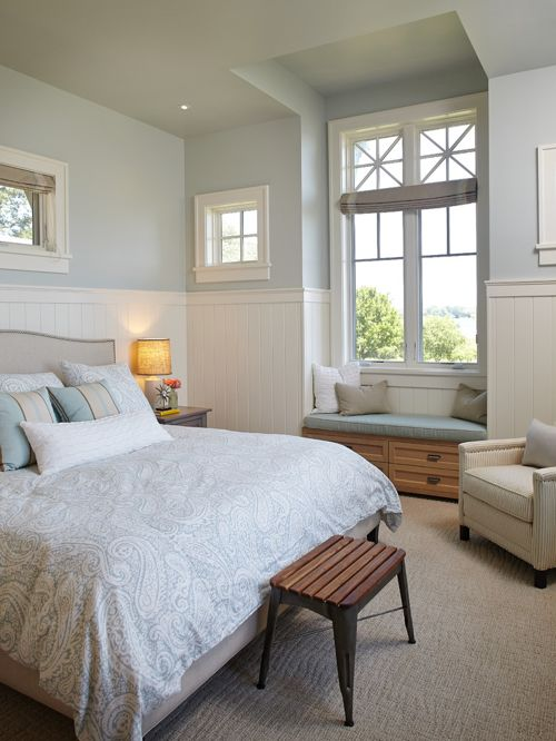 Sherwin Williams Topsail Light blue and white bedroom color scheme