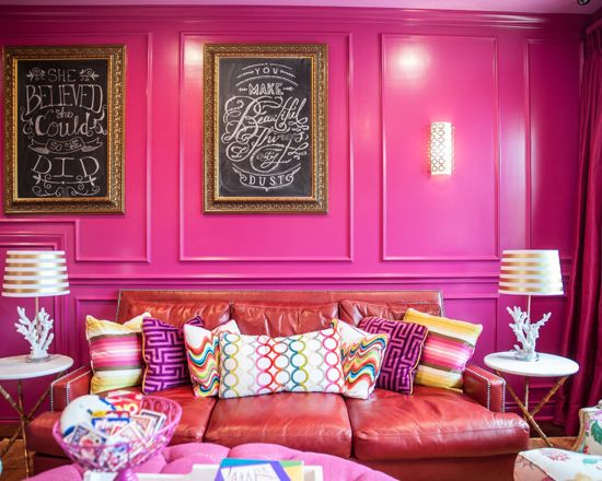 Benjamin Moore Crushed Berries Pink Color Scheme Living Room.