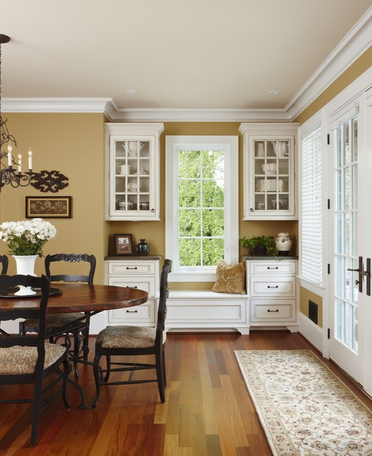Benjamin Moore Decatur Buff Painted Dining Room Walls.