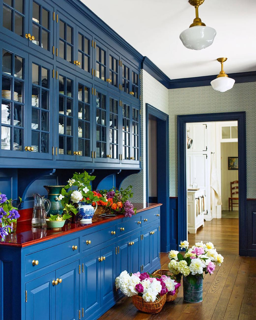 Blue painted butlers pantry interior decor.