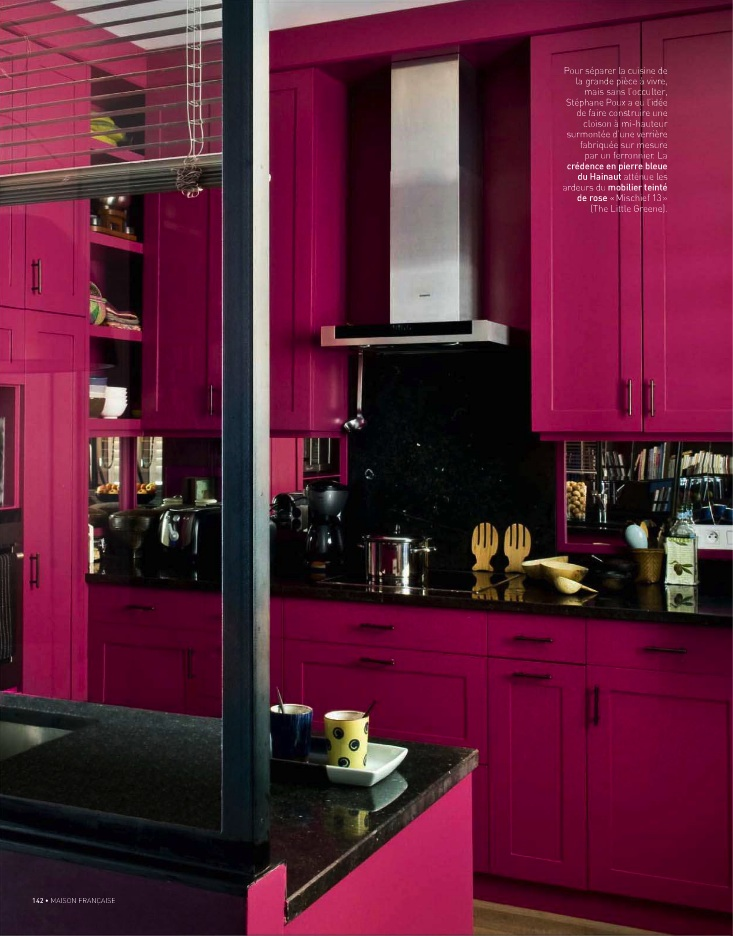 Bright Pink Kitchen Cabinets Painted in The Little Greene Mischief. Pink and black kitchen color scheme, bold kitchen colors.
