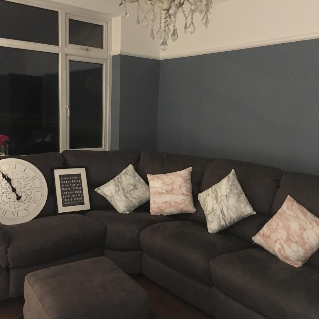 Dulux Denim Drift painted living room color scheme.