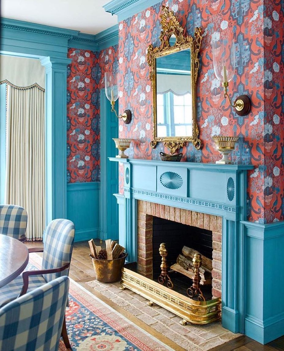 Dutch Colonial in Turquoise and Red interior color scheme.