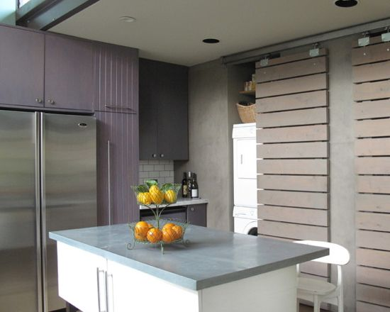 Purple and blue kitchen with kitchen cabinets painted in Benjamin Moore Purple Haze.