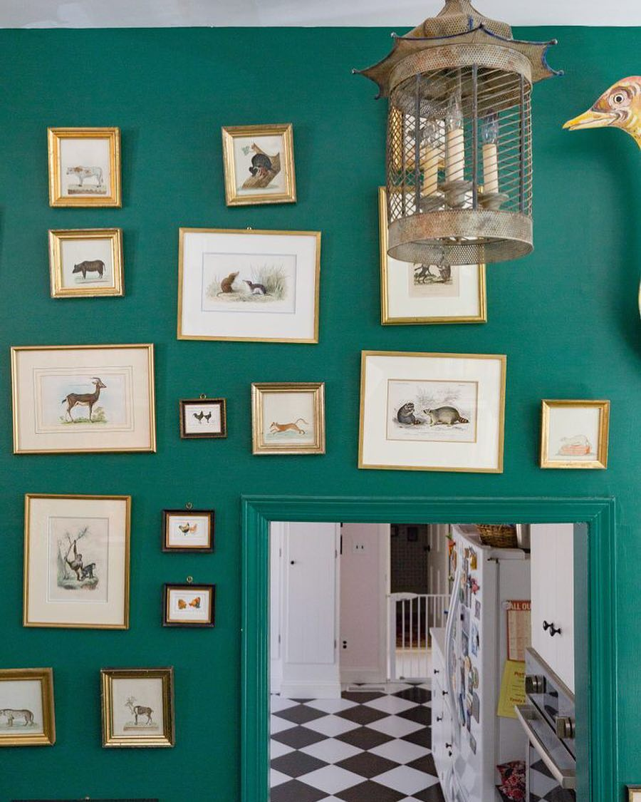 Green painted walls and animal prints on the wall interior design.
