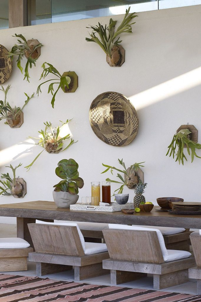 Staghorn ferns adorn the walls of this patio
