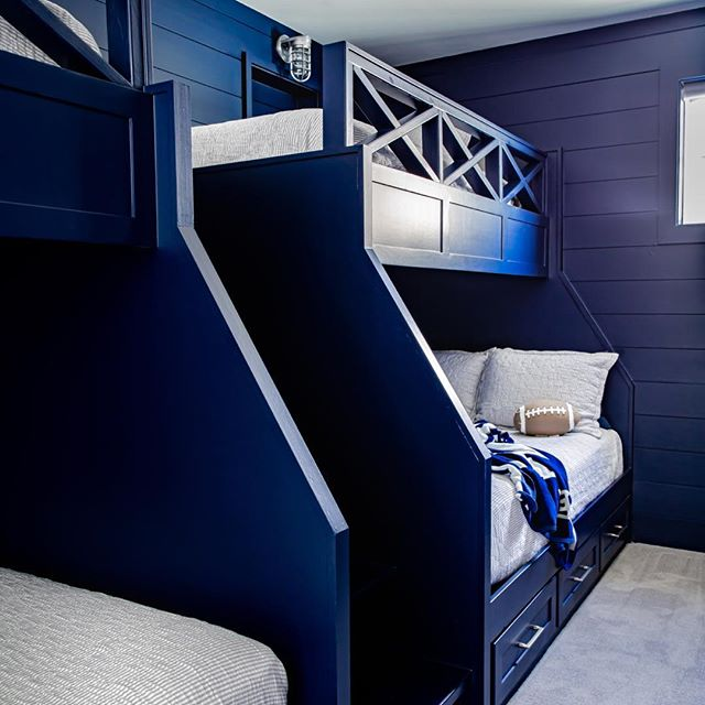 4 bunk beds design in blue for boys