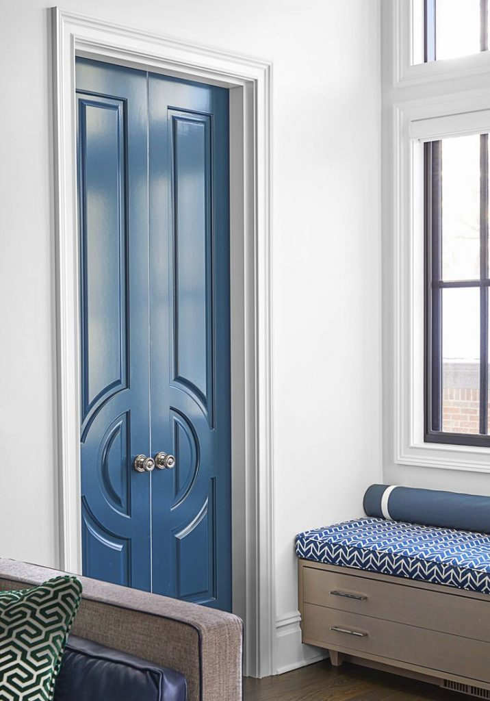 A door painted in Benjamin Moore's Navy Masterpiece
