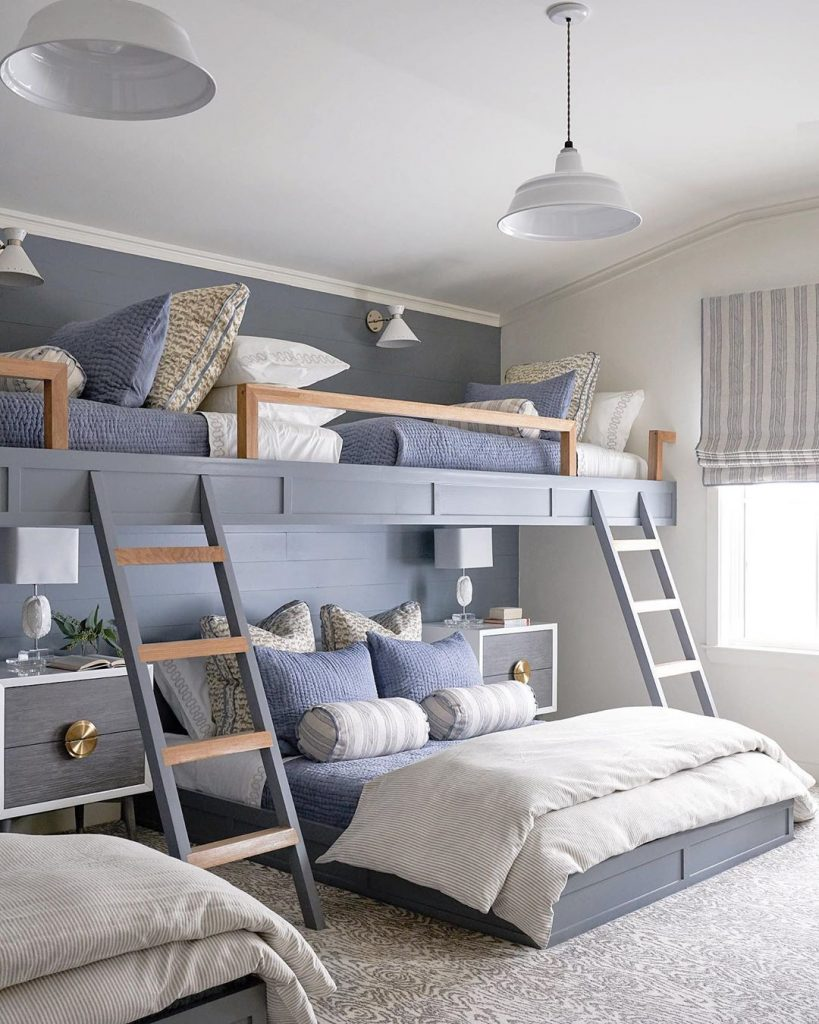 blue painted bunk beds interior design