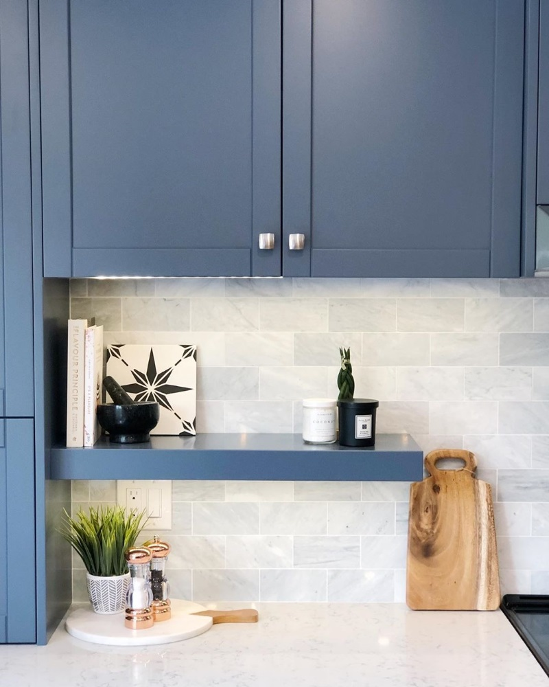 Benjamin Moore Gray Wolf paint color kitchen