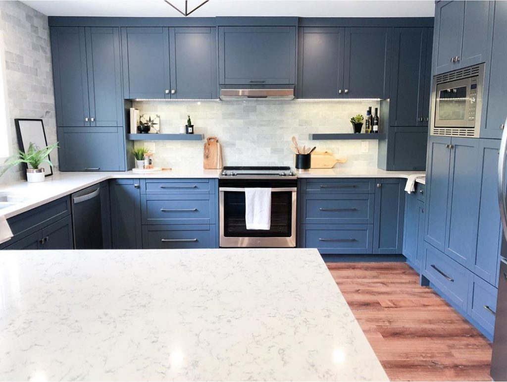 Benjamin Moore Gray Wolf painted blue kitchen cabinets