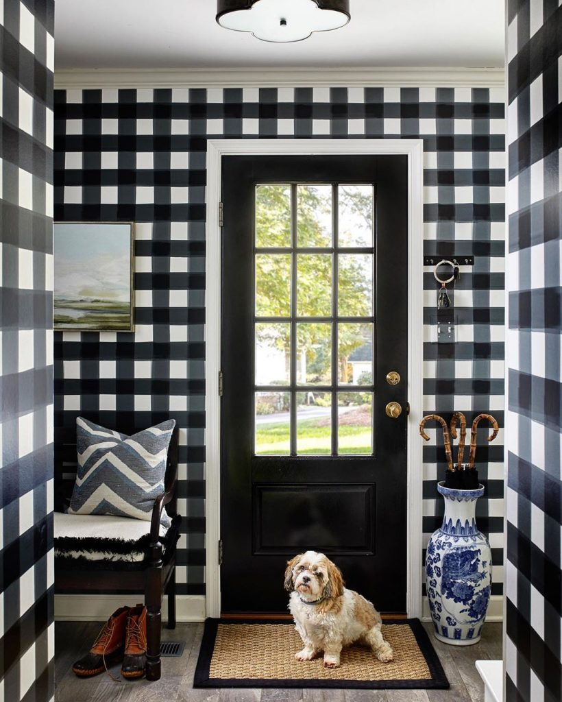 Black and white Buffalo check wallpaper foyer