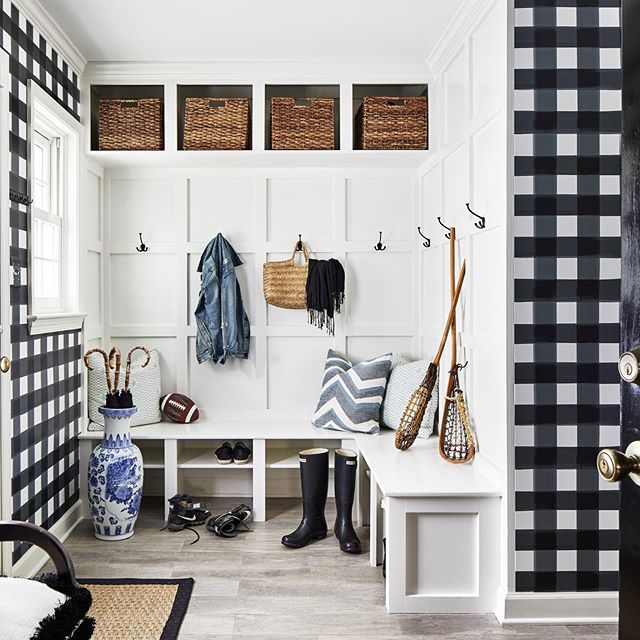 Black and white Buffalo check wallpaper mudroom