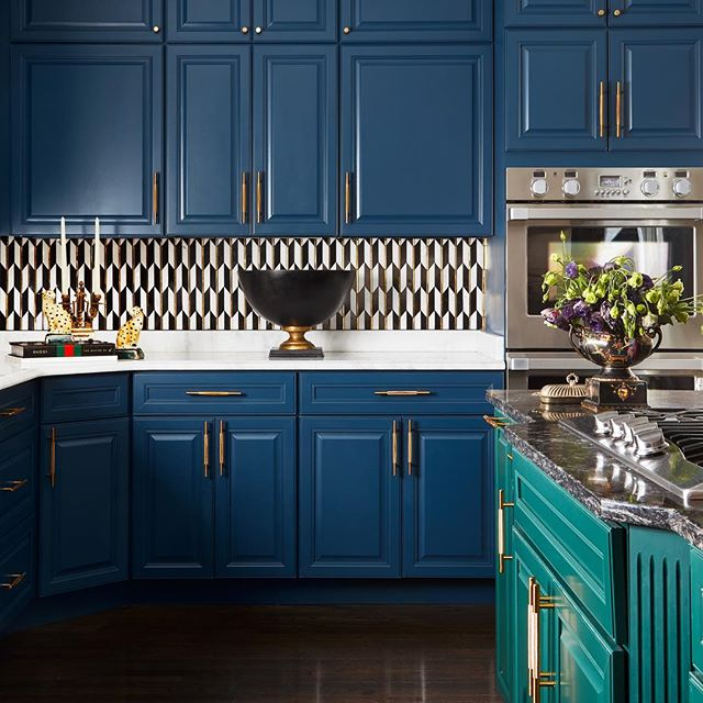 Blue kitchen cabinets green island