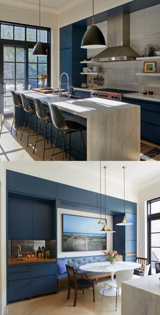 Blue kitchen paint color Fine Paints of Europe Argon MV32 and benjamin moore china white