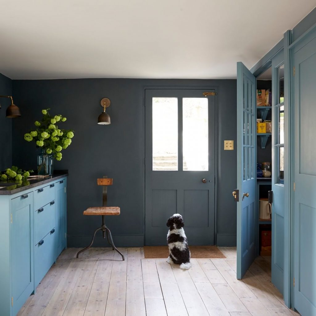 Blue kitchen painted in Paint & Paper Library Blue Gum