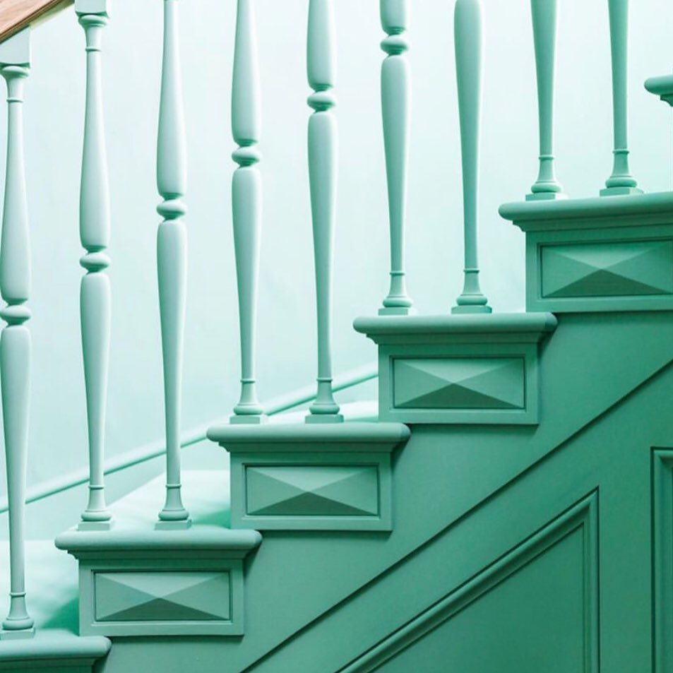 Classical staircase design in green