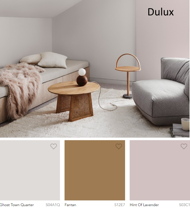 Dulux Ghost Town Quarter, Fantan and Hint of Lavender neutral paint colors 2020