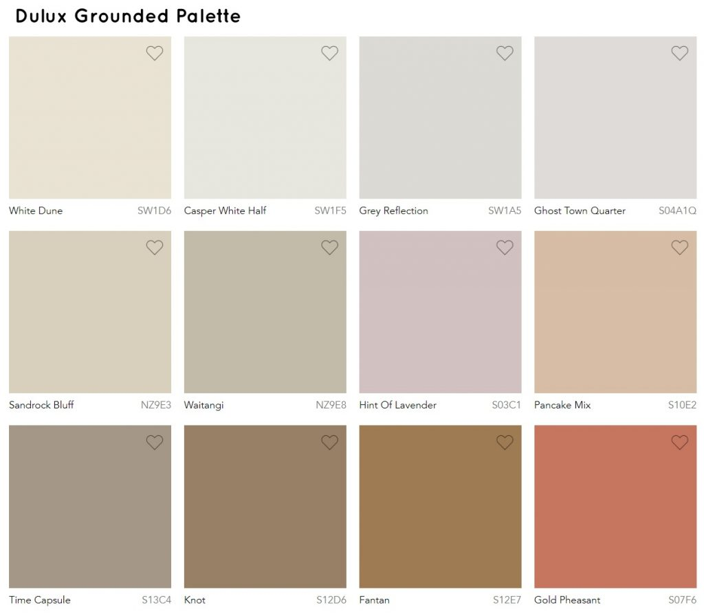 Dulux neutral paint color palette for 2020 Grounded