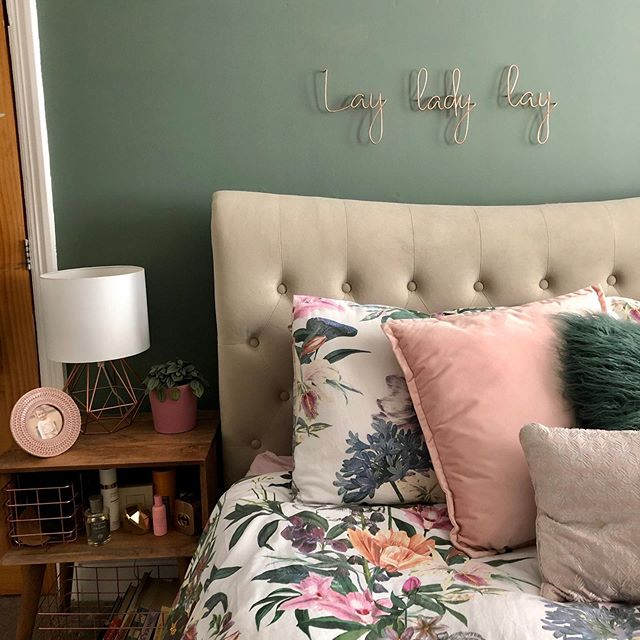 Farrow and Ball Smoke Green Bedroom feature wall