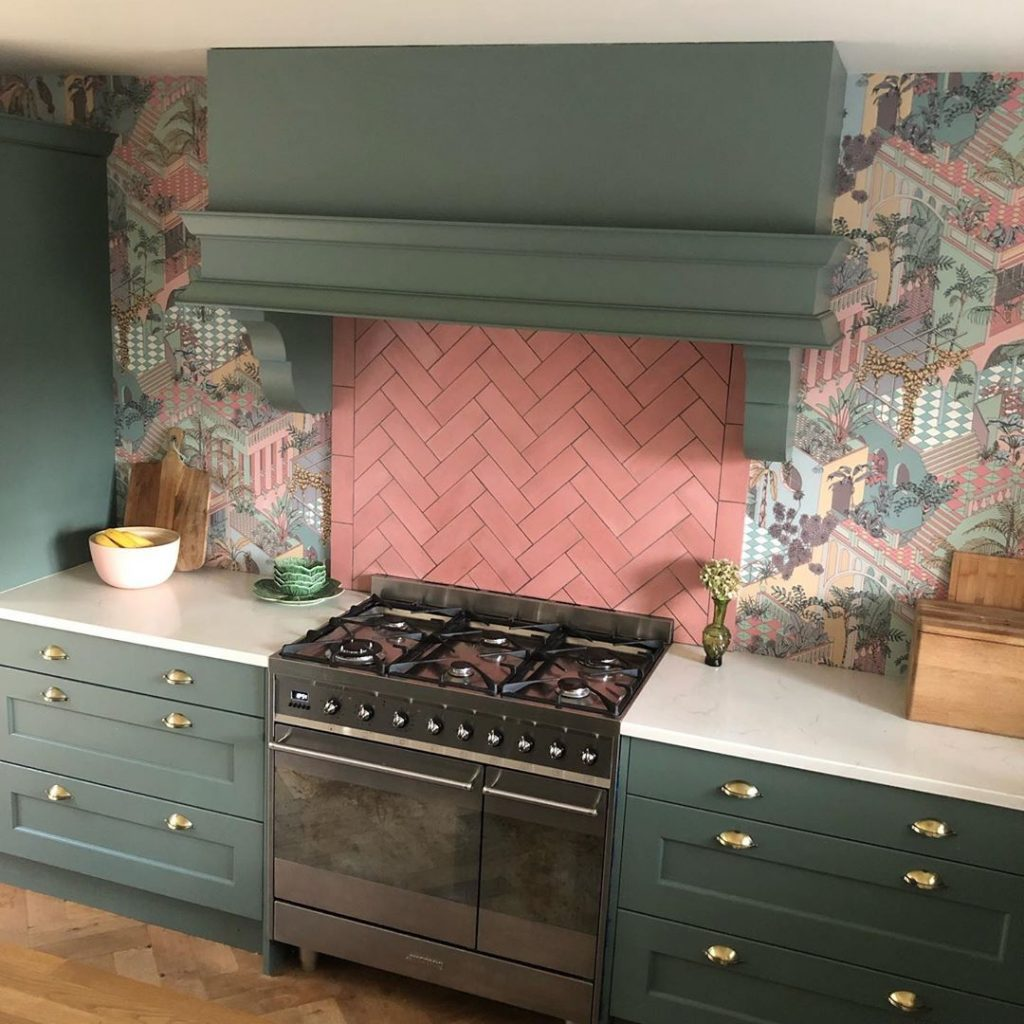 Farrow and Ball Smoke Green kitchen cabinets 2020