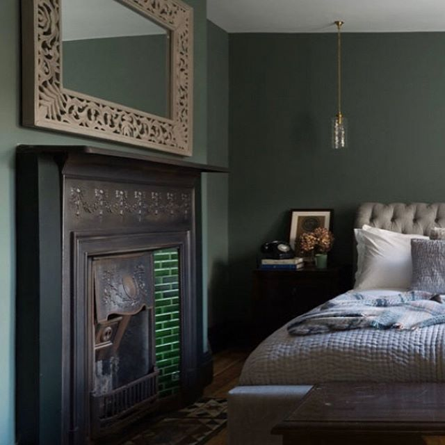 Farrow and Ball Smoke Green painted bedroom walls 2020
