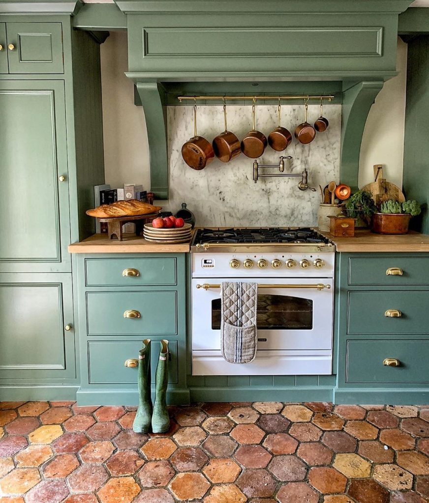 Farrow and Ball Smoke Green painted kitchen cabinets 2020
