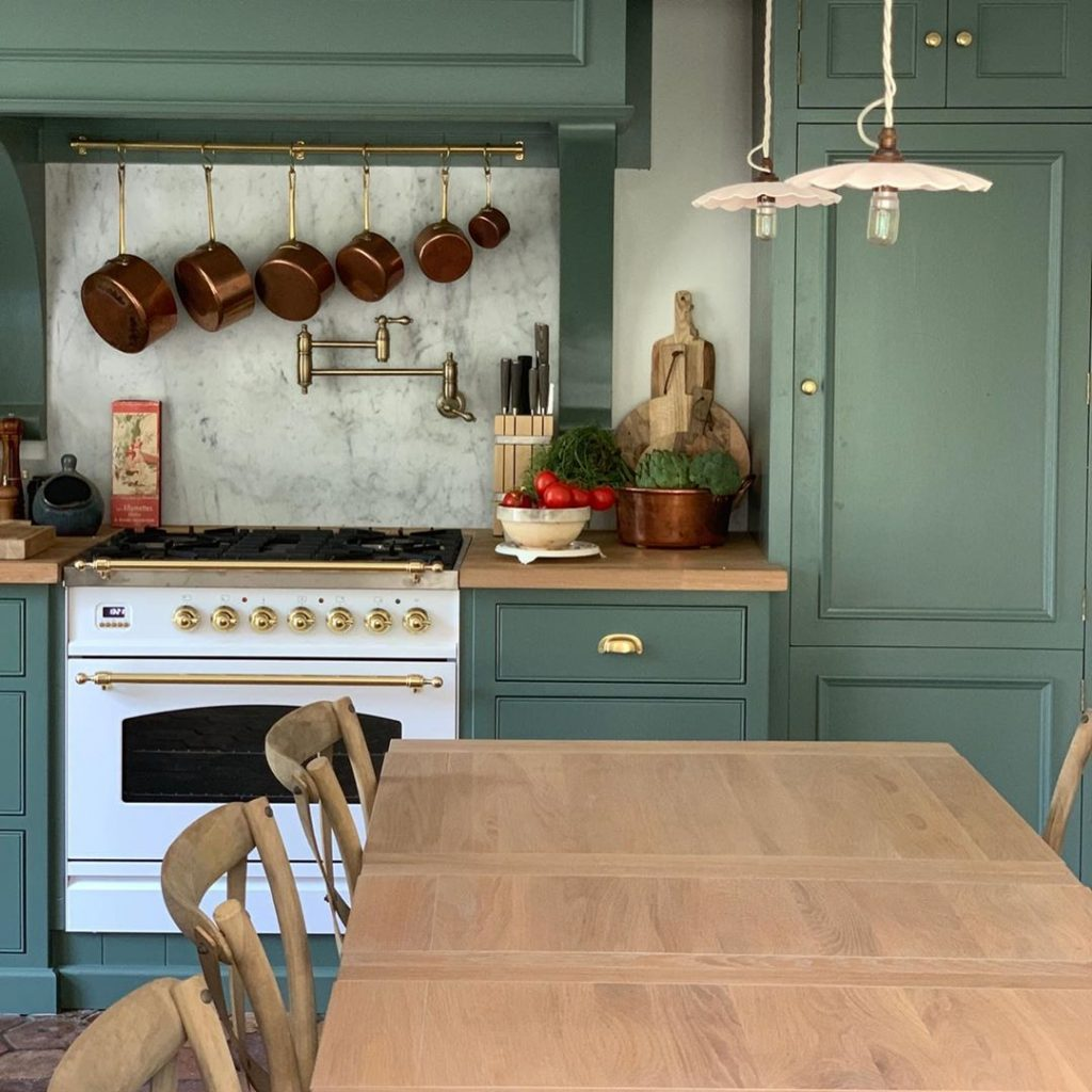 Farrow and Ball Smoke Green painted kitchen cabinets French provincial