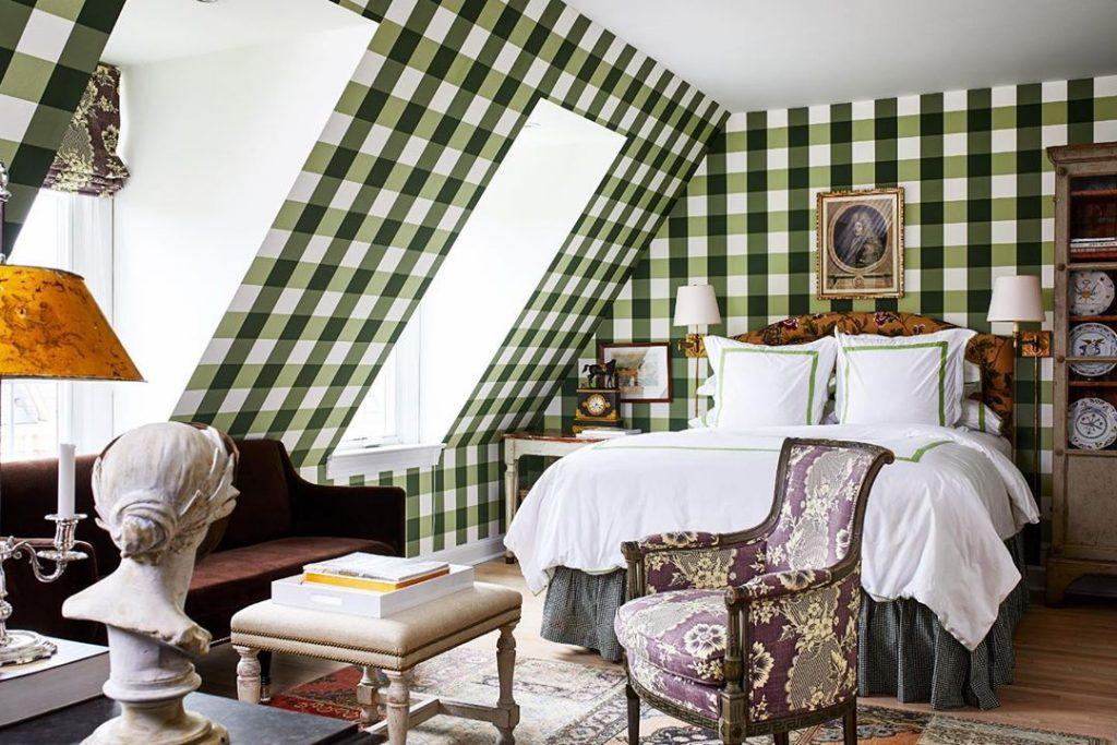 Green gingham bedroom walls buffalo check