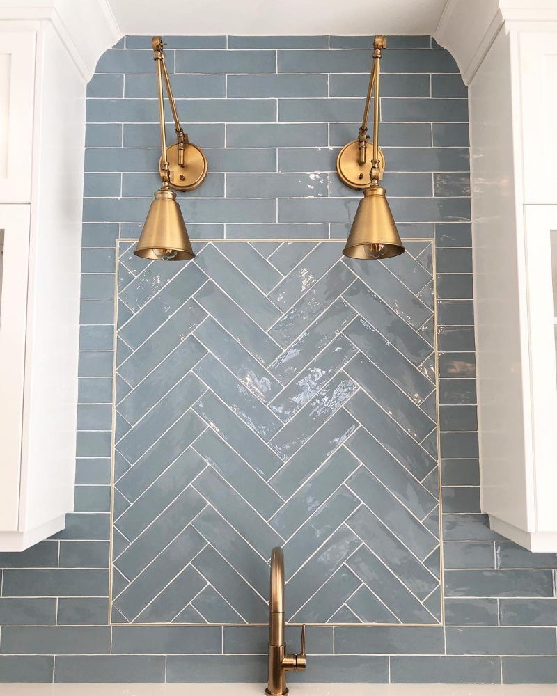 Blue tiles herringbone feature splashback