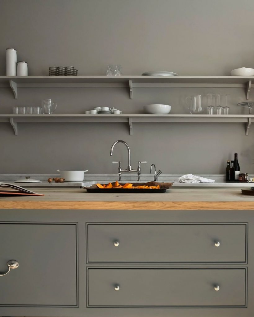 Kitchen cabinets and walls in neutral grey