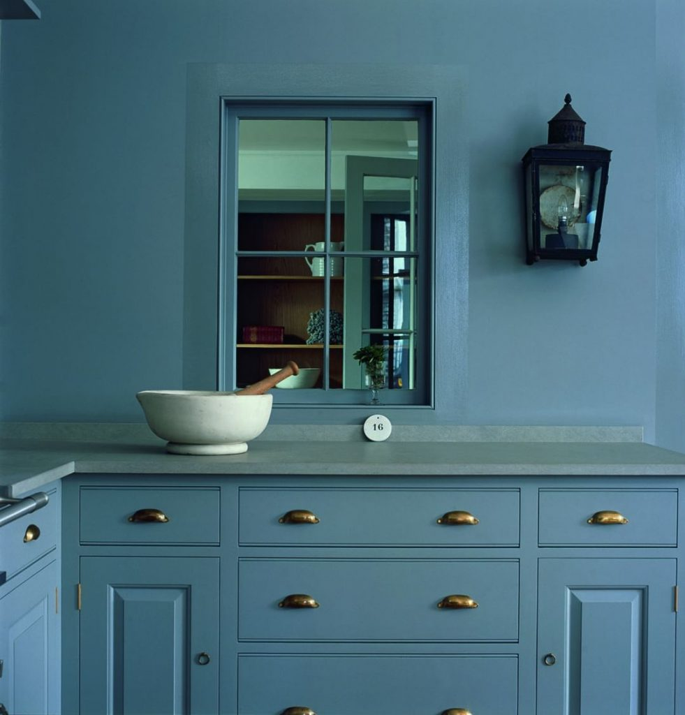 Kitchen painted in Little Greene Paint Company Lead Colour