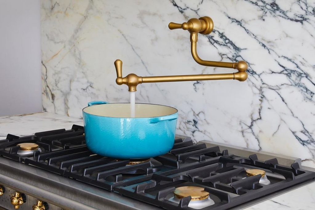 Marble splashback and brass hardware