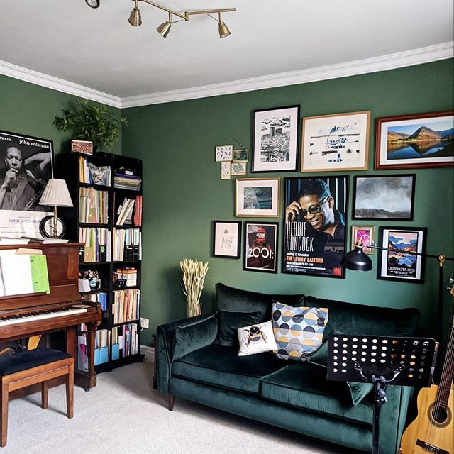 Music room painted in calke green by Farrow and Ball