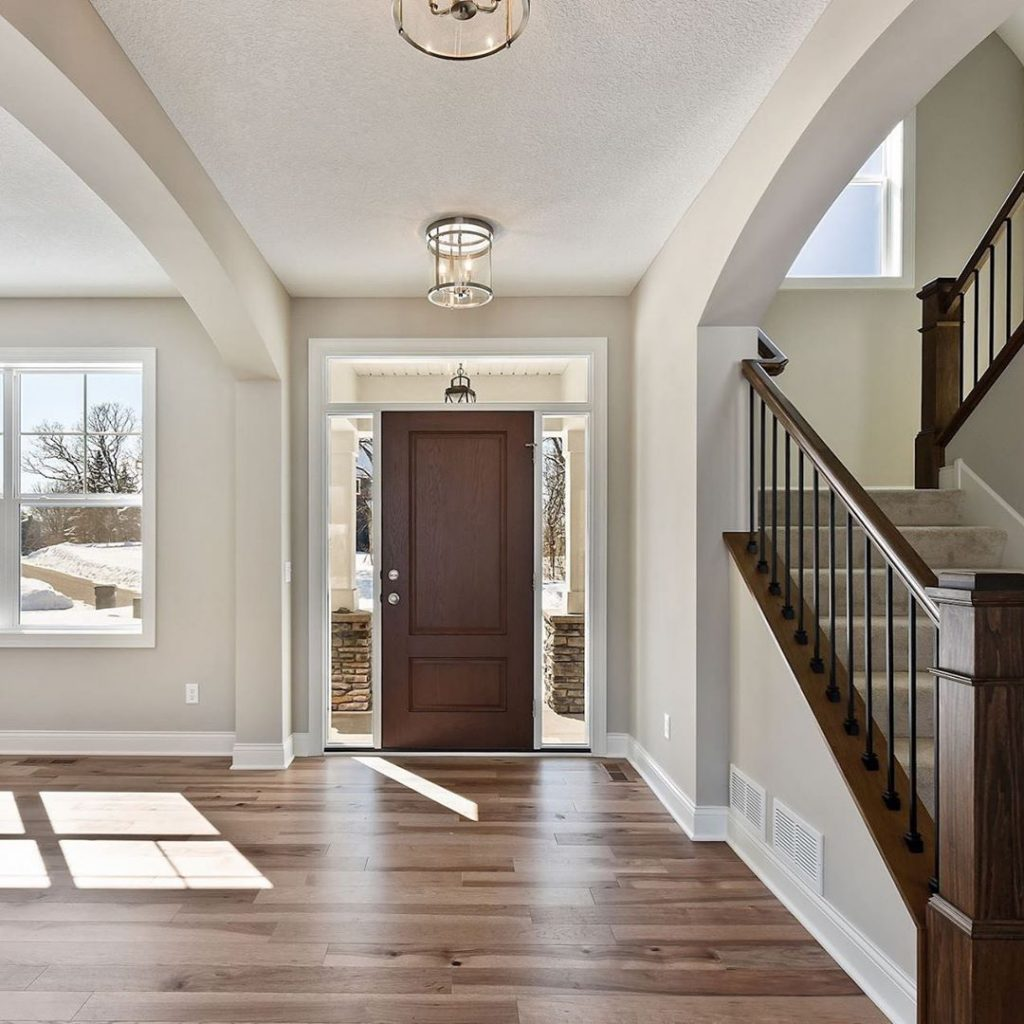 Neutral paint color ideas 2020 foyer entrance staircase