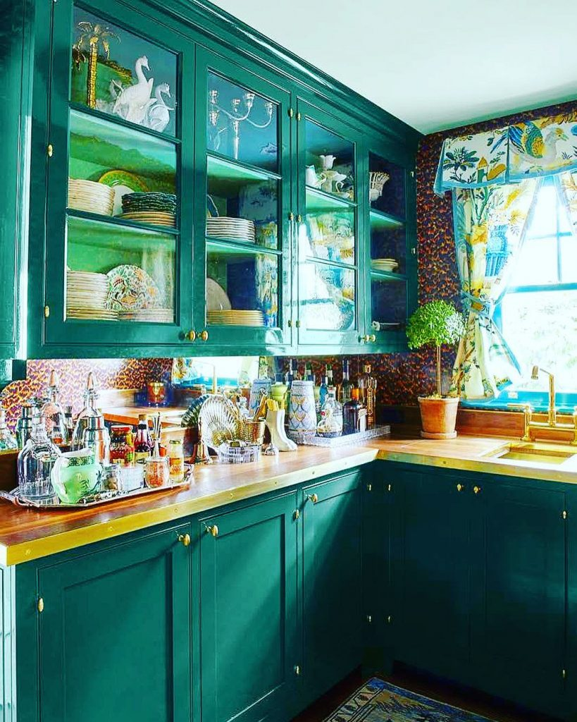 Sherwin Williams Country Squire Green kitchen cabinets paint color