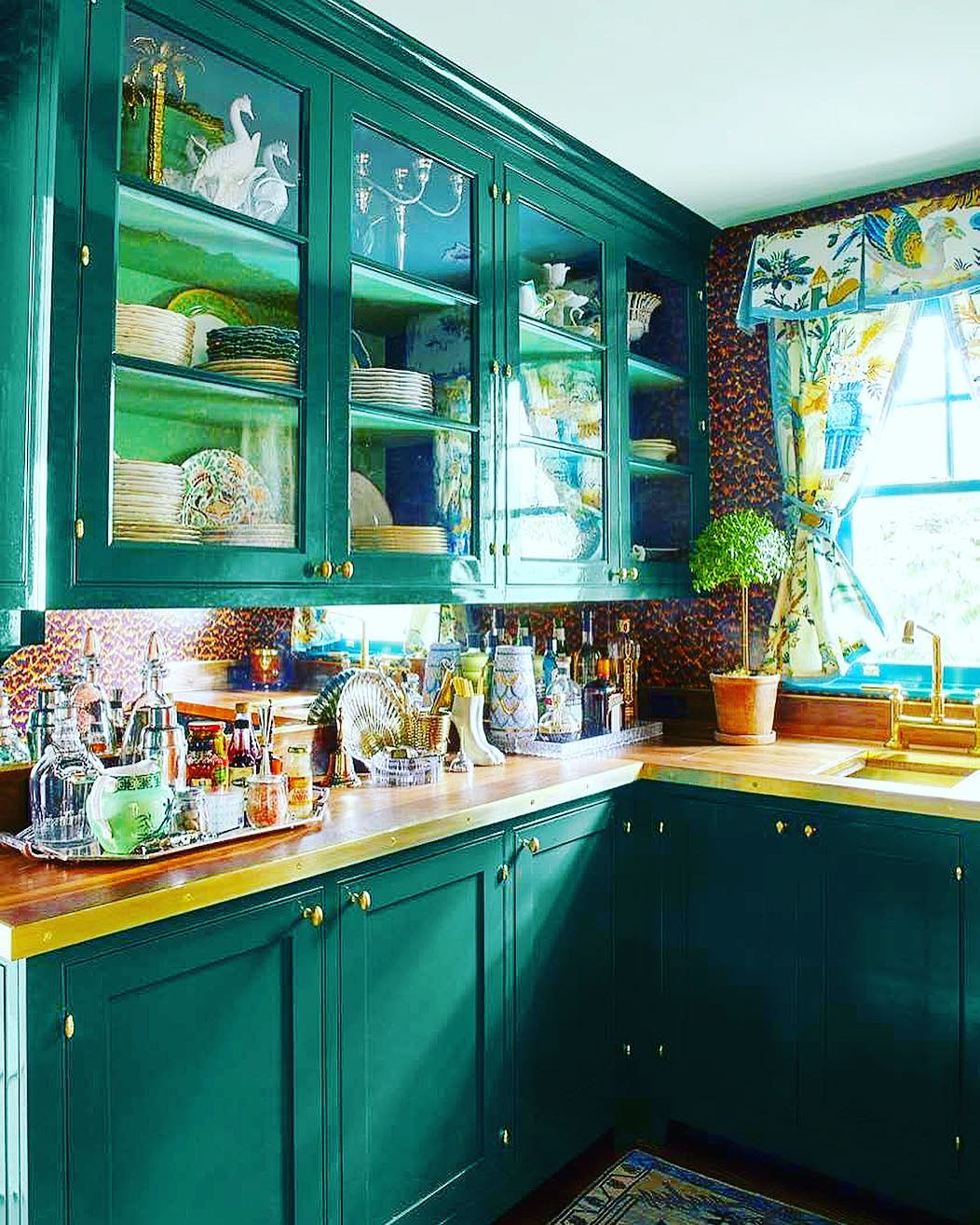 Sherwin-Williams-Country-Squire-Green-kitchen-cabinets ...
