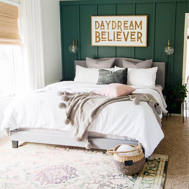 Bedroom decor with green paint from Magnolia Regal Leaf