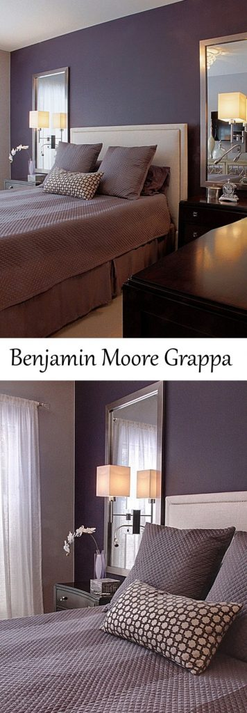 Benjamin Moore Grappa purple paint bedroom