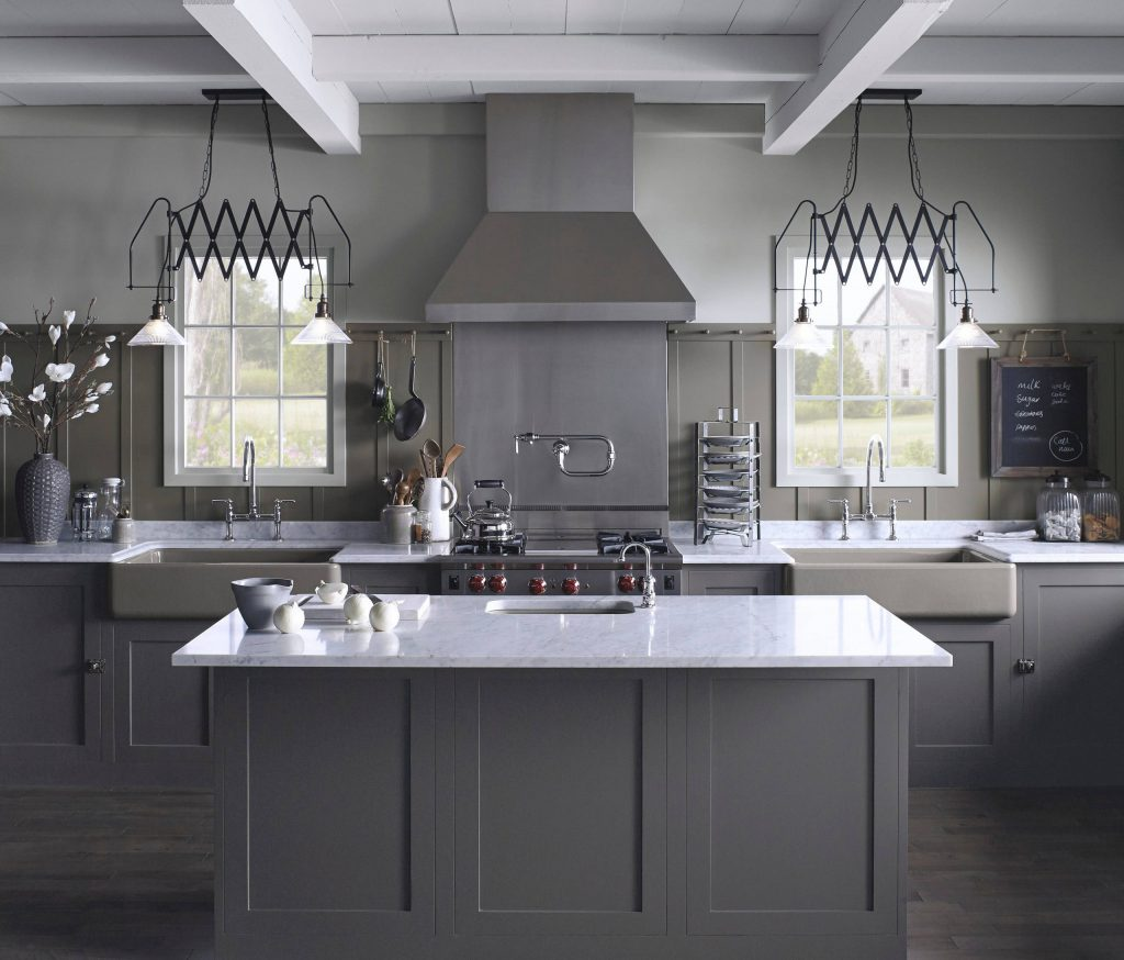 Benjamin Moore Iron Mountain Kitchen cabinets and island