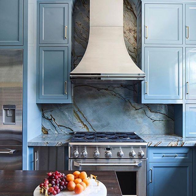 Blue Deep Quartzite kitchen splashback