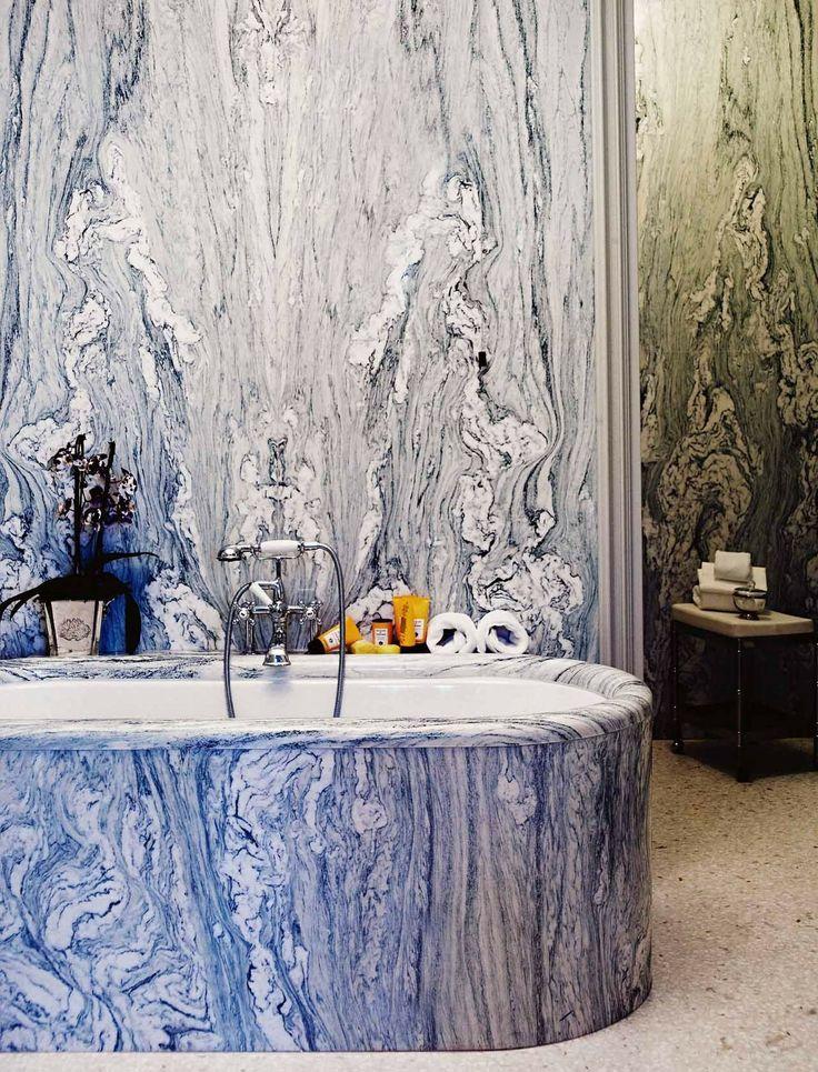 blue marble vein bathroom slab