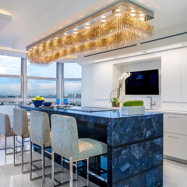 Blue marble kitchen island pantone color of the year 2020