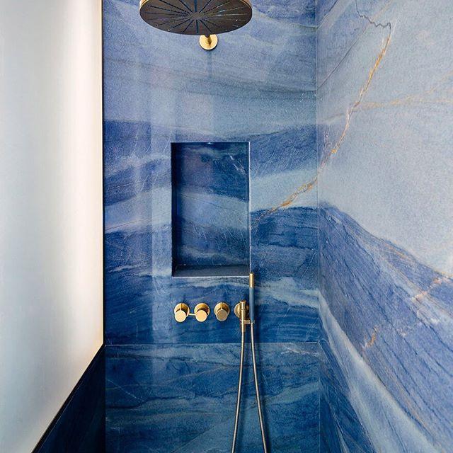 Blue marble stone bathroom splashback