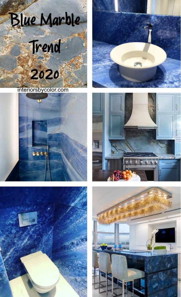 Blue marble trend 2020 interior design