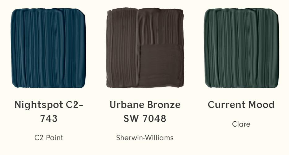 C2 Paint Nightspot, Sherwin Williams Urbane Bronze and Clare Current Mood