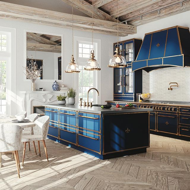 Color of the year 2020 blue kitchen parisian