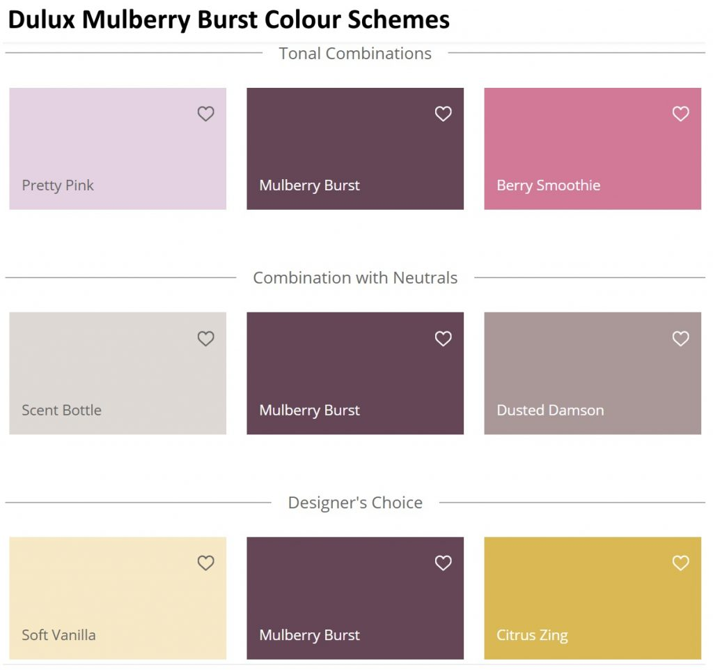 Dulux Mulberry Burst Color Schemes